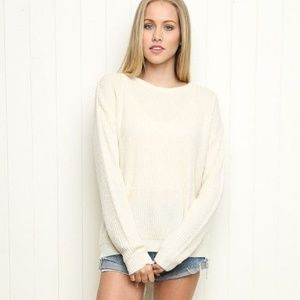 Brandy Melville Ollie Ivory Crew Neck  Sweater